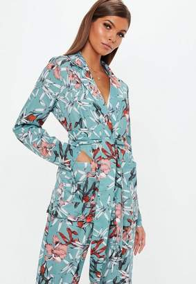 Missguided Floral Collared Tie Front Shirt