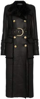 Balmain Shearling-trimmed Belted Leather Coat