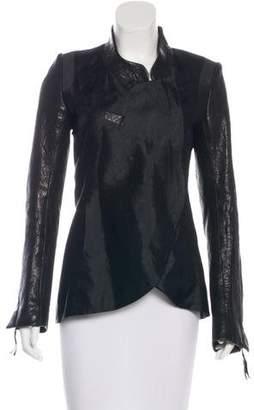 Thomas Wylde Silk Leather-Paneled Jacket