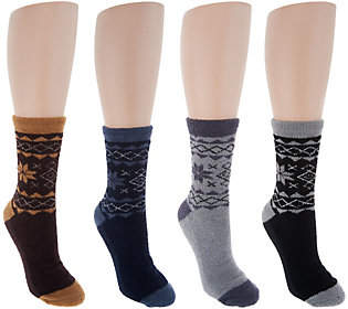 Muk Luks Jojoba Snowflake Socks Set of 4