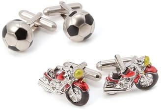 SWANK サッカーボール カフリンクス& バイク カフリンクス セット バイクのカフス:レッド/ブラック/シルバー サッカーボールのカフス:ブラック/シルバー