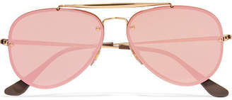 Ray-Ban Aviator Gold-tone Mirrored Sunglasses - Pink