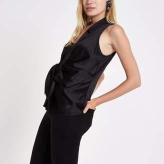 River Island Womens Black twist front sleeveless shirt