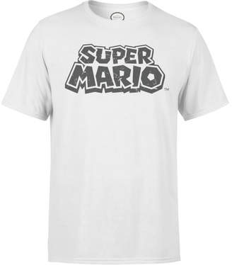 Nintendo Super Mario Distressed Logo White T-Shirt