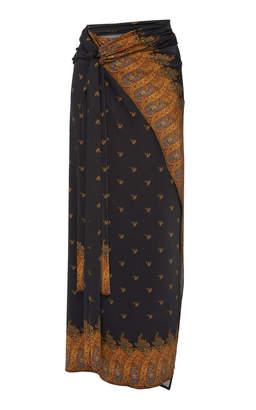 Paco Rabanne Tie-Detailed Printed Satin Sarong Skirt
