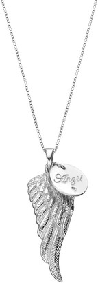 """Sterling Silver Diamond Accent """"Angel"""" Charm & Wing Pendant"""