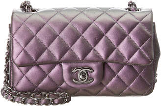 Chanel Purple Quilted Lambskin Leather Mini Flap Bag
