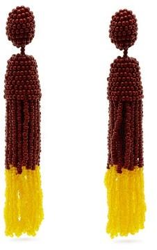 Vanda Jacintho - Beaded Drop And Tassel Earrings - Womens - Brown