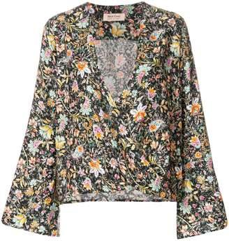 Black Coral floral print blouse