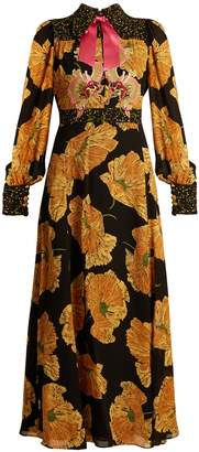 Gucci Dragon-embroidered poppy-print crepe dress