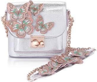 Sophia Webster Silver & Pastel Leather Claudie Butterfly Crossbody Bag