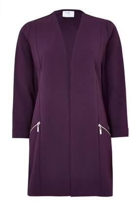 Wallis PETITE Purple Longline Zip Pocket Jacket