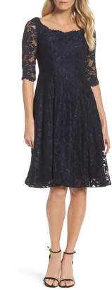 La Femme Fit & Flare Lace Dress
