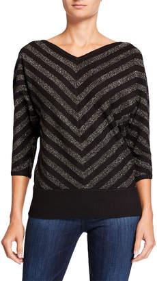 Carmen Marc Valvo Carmen Mitered Stripe 3/4 Dolman-Sleeve Sweater