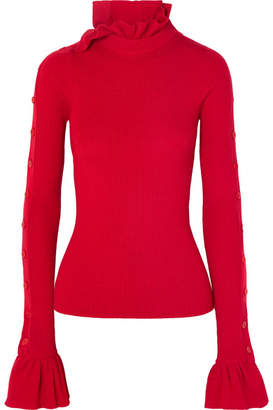 Preen by Thornton Bregazzi Amanda Button-embellished Ruffled Ribbed Wool Sweater - Red