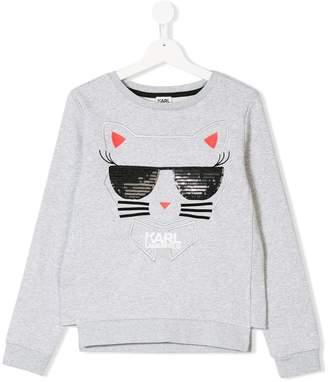 Karl Lagerfeld Choupette embroidery sweatshirt