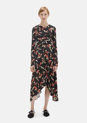 Isabel Marant Diana Asymmetrical Dress Black Red