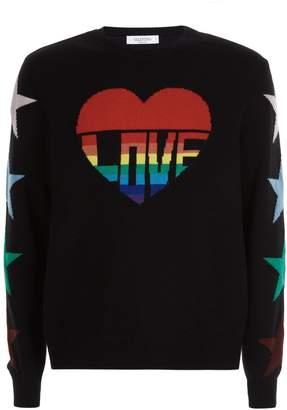 Valentino Rainbow Heart Sweater