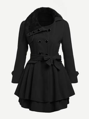 Shein Contrast Faux Fur Collar Double Layered Hem Coat