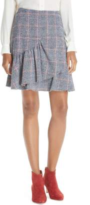 Rebecca Taylor Cotton Wool Blend Plaid Ruffle Mini Skirt