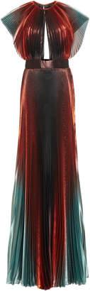 Givenchy Cutout Degradé Plissé- Lamé Gown
