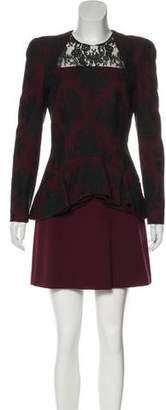 Alexander McQueen Lace-Accented Peplum Dress