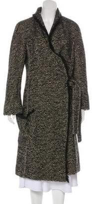 Sonia Rykiel Logo-Embellished Wool Long Coat