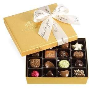 Godiva Chocolatier Assorted Chocolate Gold Gift Box, Thank You Ribbon, 19 pc.