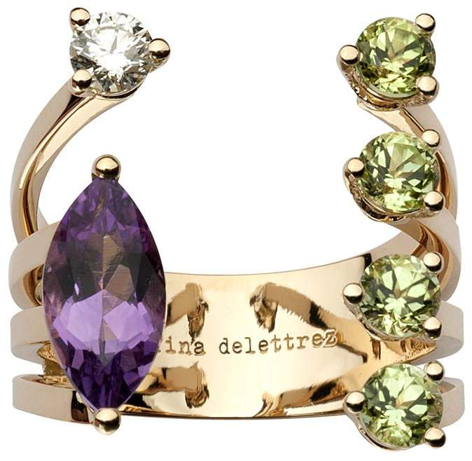 Diamond and Amethyst Dots Ring