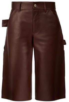 Bottega Veneta Knee Length Leather Shorts - Womens - Burgundy