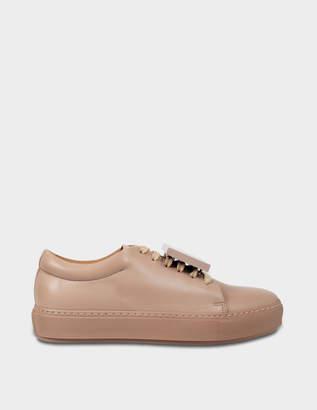 Acne Studios Adriana Turn Up Sneakers in Dusty Pink Calf