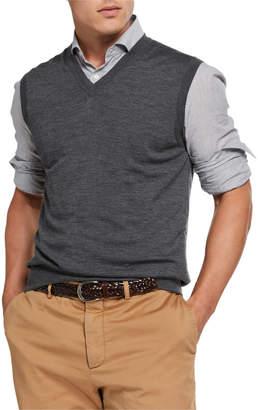 Brunello Cucinelli Men's Fine-Gauge V-Neck Pullover Vest