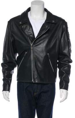 Chrome Hearts Sterling Silver-Accented Leather Moto Jacket