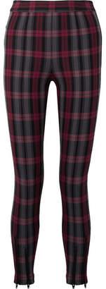 Alexander Wang Zip-embellished Plaid Cotton-blend Twill Skinny Pants - Black