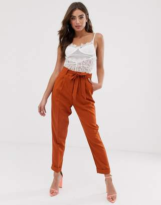 Asos Design DESIGN woven peg pants with obi tie