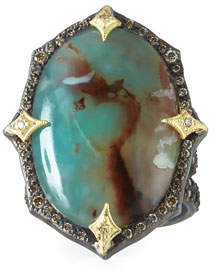Armenta Old World AquapraseTM Oval Cabochon Ring with Diamonds