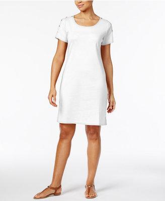Karen Scott Cotton Button-Shoulder T-Shirt Dress, Created for Macy's $44.50 thestylecure.com