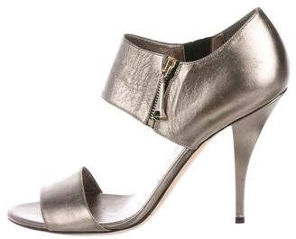 Gucci Metallic Leather Ankle Strap Sandals