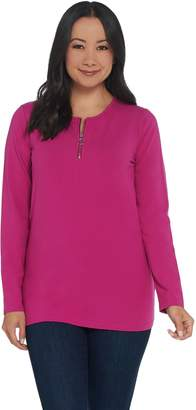 Denim & Co. Essentials Perfect Jersey Top with Zipper Detail