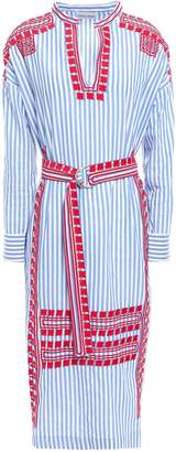 Antik Batik Jackie Belted Embroidered Cotton-poplin Midi Dress
