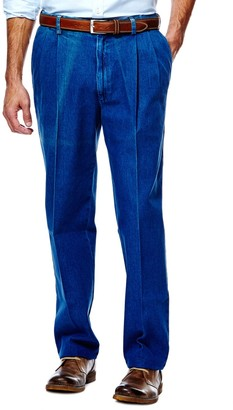 Haggar Men's Work to Weekend Classic-Fit Pleated Denim Pants