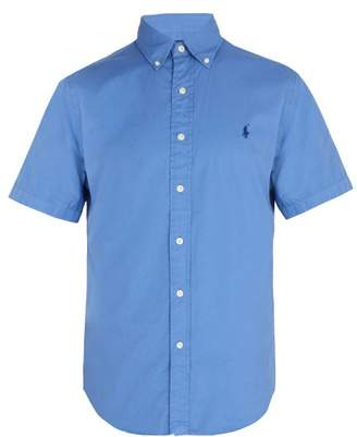 Polo Ralph Lauren Logo Embroidered Short Sleeve Cotton Shirt - Mens - Blue