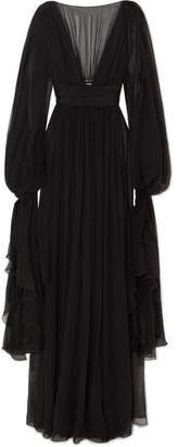 Saint Laurent Ruffled Tiered Silk-chiffon Gown - Black