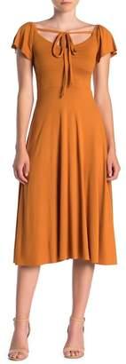 Velvet Torch Front Ruched Short Flutter Sleeve Dress