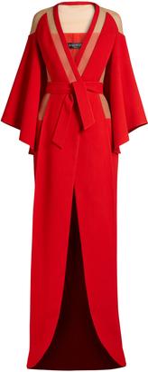 BALMAIN V-neck tie-waist panelled crepe gown $4,997 thestylecure.com