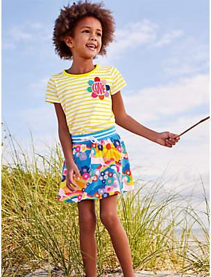 Boden Mini Girls' Jersey Patterened Skort, Multi Unicorn Sunset