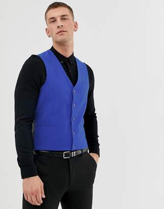 Asos DESIGN Vest with Square Hem in Blue