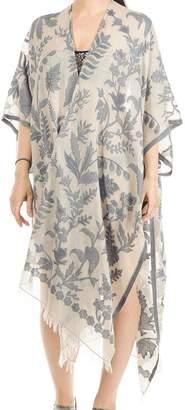 Black Aphrodite Floral Cotton Poncho Cover Up
