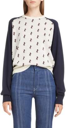 Chloé Studded Horse Contrast Sleeve Sweater