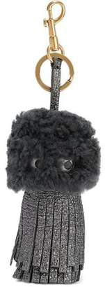 Anya Hindmarch Tassel Eyes Shearling And Cracked-Leather Keychain